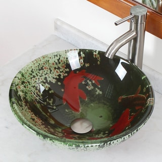 CAE Lily Pond Glass Sink and Brushed Nickel Faucet