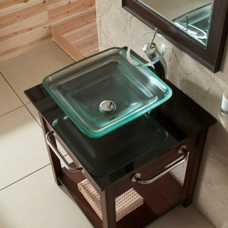 CAE Frosted Glass Sink with Waterfall Faucet