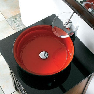 CAE Tempered Glass Sink with Chrome Faucet