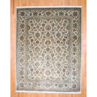 Herat Oriental Indo Hand-knotted Farahan Beige/ Green Wool Rug (9'2 x 12')