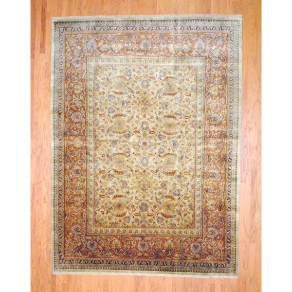 Indo Hand-knotted Farahan Beige/ Brown Wool Rug (9' x 12')