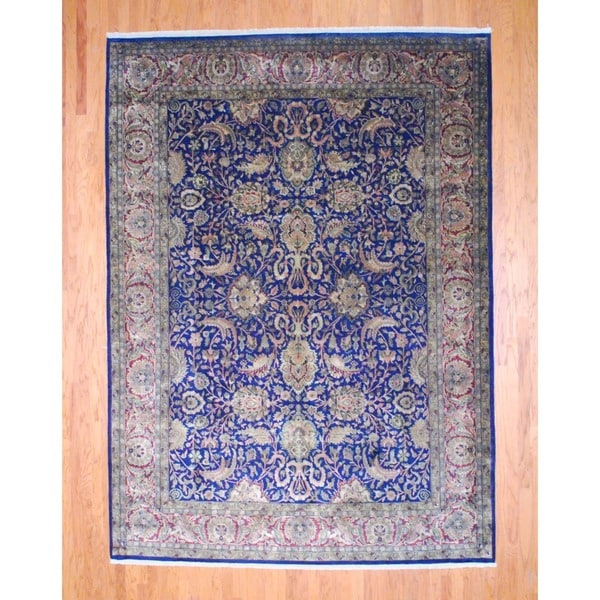 Indo Hand-knotted Farahan Navy/ Red Wool Rug (9' x 12')