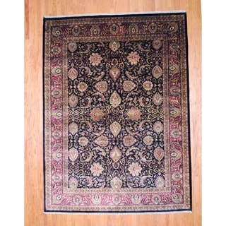 Herat Oriental Indo Hand-knotted Sarouk Black/ Red Wool Rug (9' x 12')