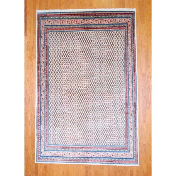 Persian Hand-knotted Mir Ivory/ Light Blue Wool Rug (8' x 12')