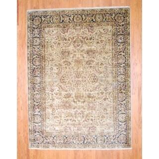 Herat Oriental Indo Hand-knotted Mahal Beige/ Black Wool Rug (8'7 x 11'7)