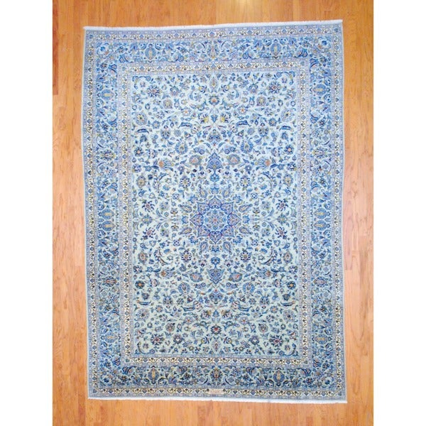 Persian Hand-knotted Kashan Sage/ Light Blue Wool Rug (8'5 x 12'2)
