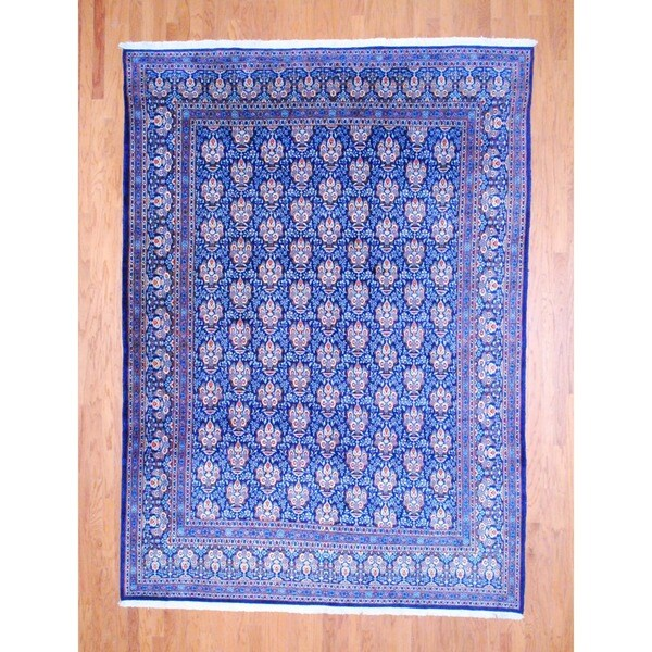 Persian Hand-knotted Kashan Navy/ Ivory Wool Rug (8'2 x 11'3)