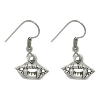Carolina Glamour Collection Pewter True Vampire Lip and Fang Earrings