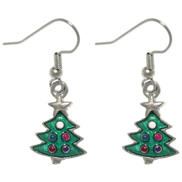 Carolina Glamour Collection Pewter Christmas Tree Dangle Earrings
