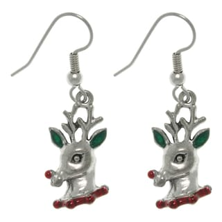 Carolina Glamour Collection Pewter Red-nosed Reindeer Dangle Earrings