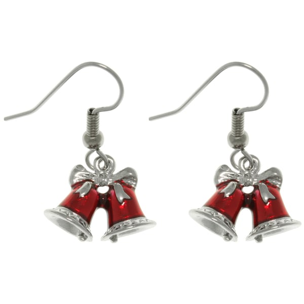 Pewter Red Holiday Bells Earrings