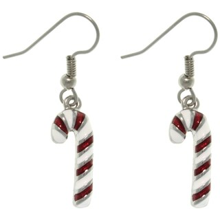 Pewter Holiday Candy Cane Earrings
