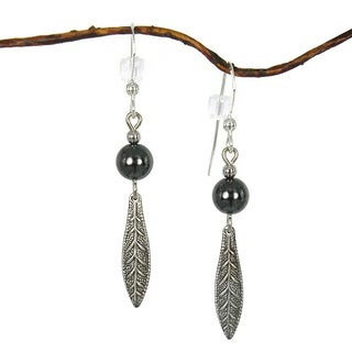 Jewelry by Dawn Hematite With Antique Silver Colored Long Leaf Drop Earrings
