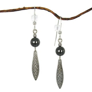 Handmade Jewelry by Dawn Hematite with Antique Silver Colored Long Leaf Drop Earrings (USA)