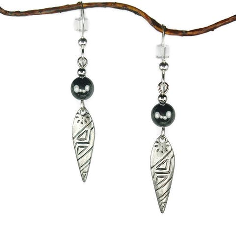 Handmade Jewelry by Dawn Hematite With Antique Silver Colored Patterned Drop Earrings (USA)