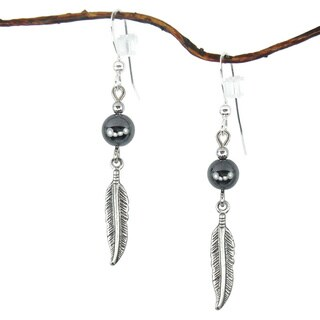Jewelry by Dawn Hematite With Antique Silver Colored Feather Earrings