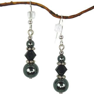 Jewelry by Dawn Hematite And Black Triple Bead Earrings https://ak1.ostkcdn.com/images/products/7492761/7492761/Hematite-And-Black-Triple-Bead-Earrings-P14936726.jpg?impolicy=medium