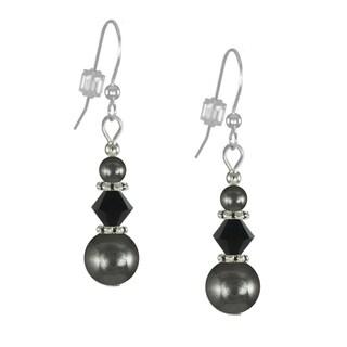 Handmade Jewelry by Dawn Hematite And Black Triple Bead Earrings