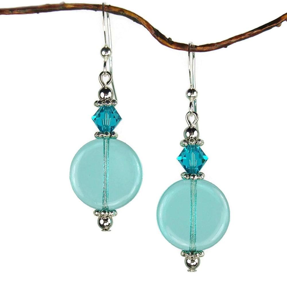 Jewelry by Dawn Aqua Glass Coin Earrings (Aquamarine, sil...