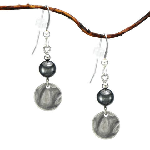 Handmade Jewelry by Dawn Hematite With Small Hammered Drop Earrings (USA)
