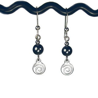 Jewelry by Dawn Hematite With Silver Swirl Drop Earrings