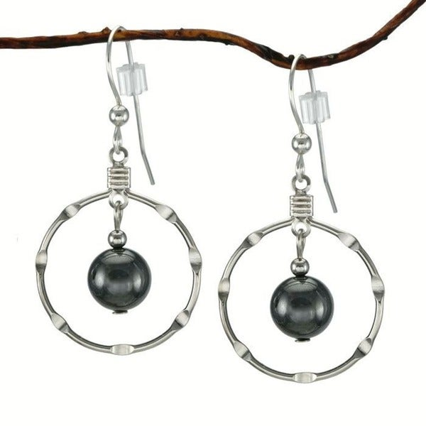 Jewelry by Dawn Hematite Silver Hoop Earrings