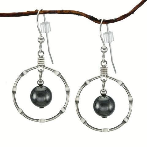 Handmade Jewelry by Dawn Hematite Silver Hoop Earrings (USA)