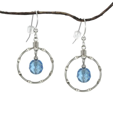 Handmade Jewelry by Dawn Sapphire Blue Silver Hoop Earrings (USA)