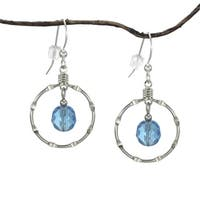 Handmade Jewelry by Dawn Sapphire Blue Silver Hoop Earrings (USA)