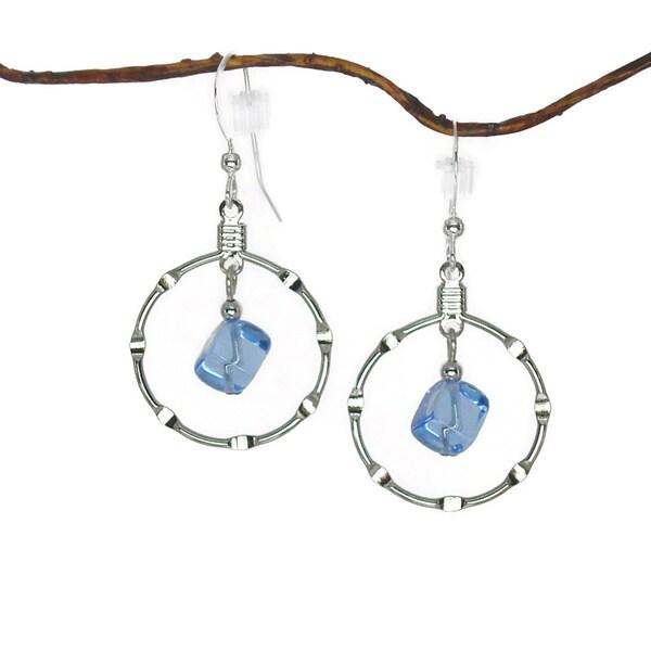 Jewelry by Dawn Sapphire Blue Silver Hoop Earrings