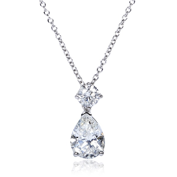 Annello by Kobelli 14k White Gold 1 1/4ct TDW Certified Diamond Necklace (H-I, SI2-SI2)