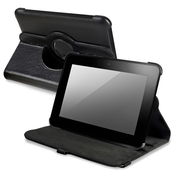 BasAcc Black Leather Swivel Case for Amazon Kindle Fire HD 7-INCH
