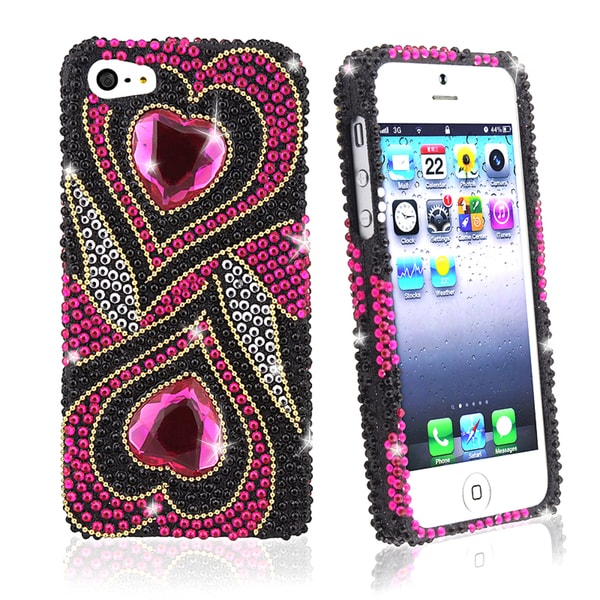 BasAcc Hot Pink Hearts Diamond Snap-on Case for Apple iPhone 5