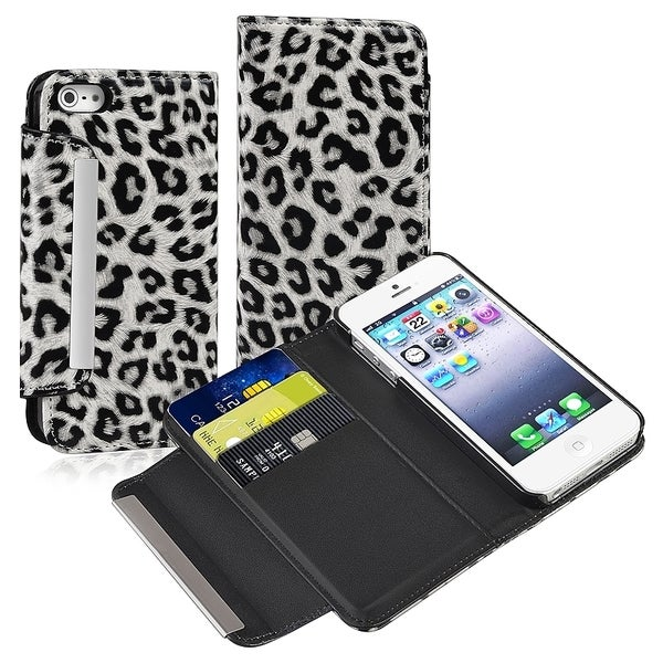 INSTEN White/ Black Leopard Leather Wallet Phone Case Cover for Apple iPhone 5/ 5S