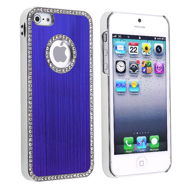 INSTEN Bling Luxury Blue Snap-on Phone Case Cover for Apple iPhone 5/ 5S