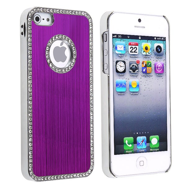 INSTEN Bling Luxury Purple Rear Snap-on Phone Case Cover for Apple iPhone 5