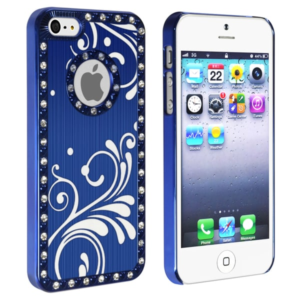 BasAcc Bling Luxury Blue with Flower Snap-on Case for Apple iPhone 5
