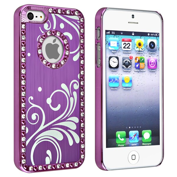 INSTEN Bling Luxury Purple with Flower Snap-on Phone Case Cover for Apple iPhone 5