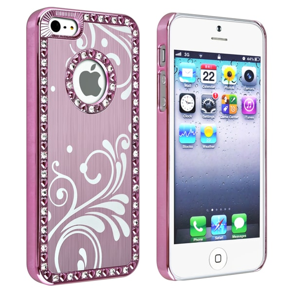 INSTEN Bling Light Pink with Flower Snap-on Phone Case Cover for Apple iPhone 5