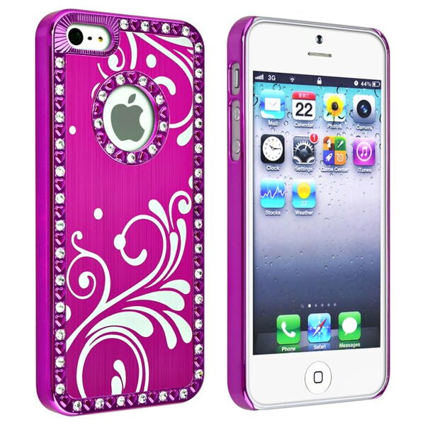 BasAcc Bling Hot Pink with Flower Snap-on Case for Apple iPhone 5