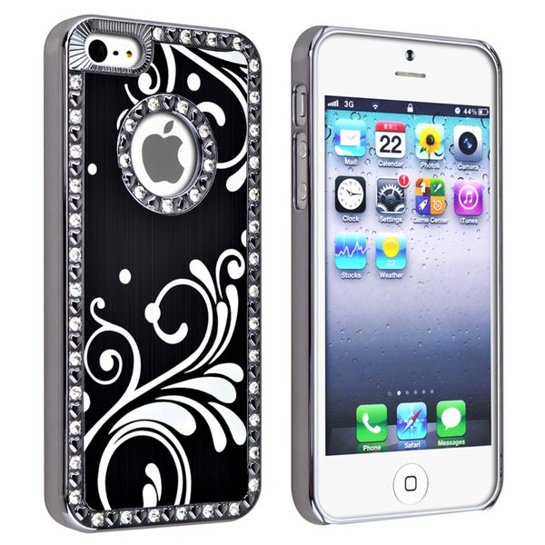BasAcc Bling Luxury Black with Flower Snap-on Case for Apple iPhone 5