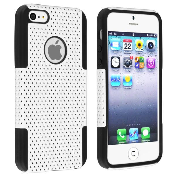 INSTEN Black Skin/ White Mesh Hybrid Phone Case Cover for Apple iPhone 5
