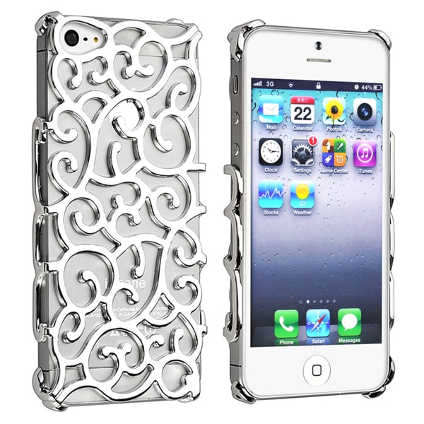 BasAcc Silver Palace Flower Chrome Snap-on Case for Apple iPhone 5