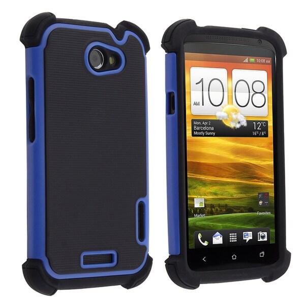 BasAcc Black Skin/ Blue Hard Hybrid Armor Case for HTC One X