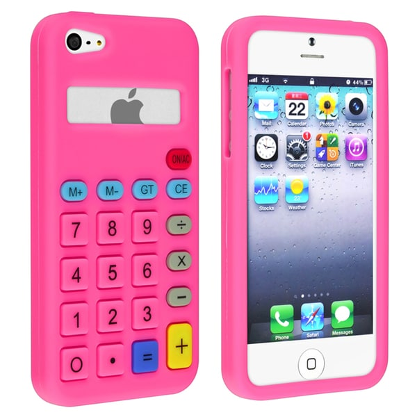 INSTEN Hot Pink 3D Calculator Soft Silicone Skin Phone Case Cover for Apple iPhone 5