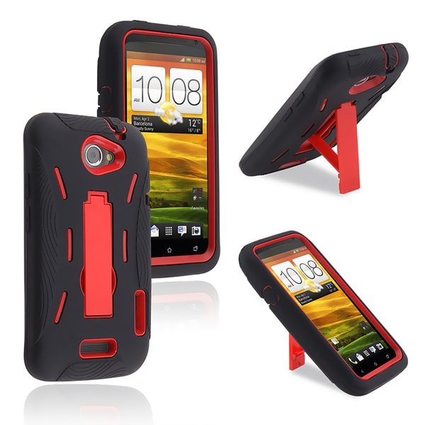 BasAcc Red Hard/ Black Skin Hybrid Case with Stand for HTC One X