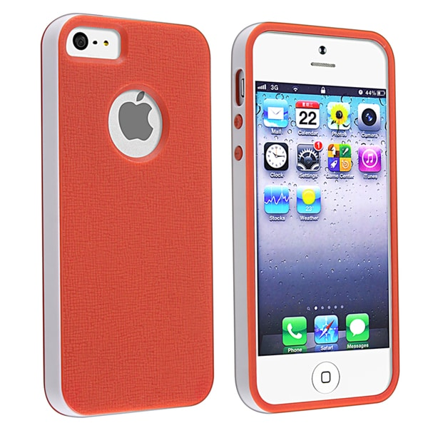 BasAcc Red/ White Bumper TPU Rubber Skin Case for Apple® iPhone 5