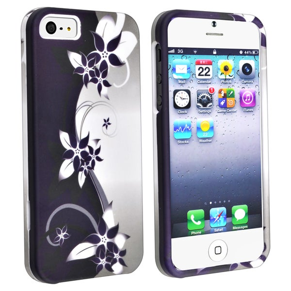 BasAcc Purple/ White Flower Snap-on Rubber Case for Apple iPhone 5