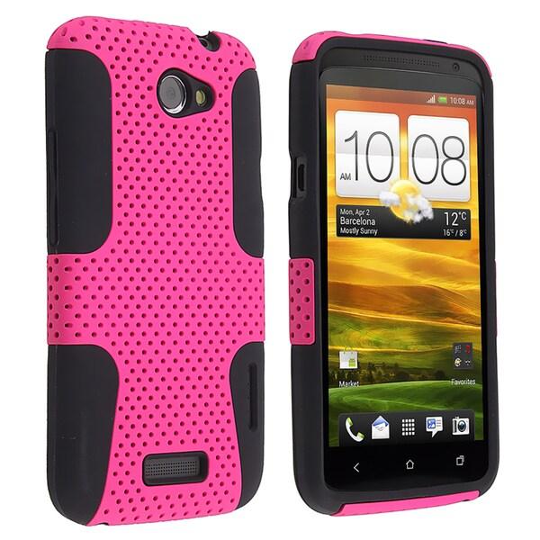 BasAcc Black Skin/ Hot Pink Mesh Hybrid Case for HTC One X