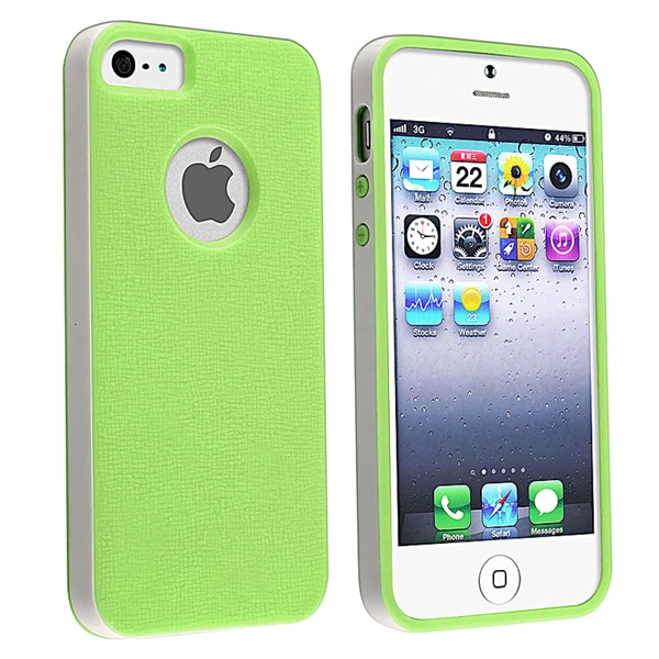 BasAcc Green/ White Bumper TPU Rubber Skin Case for Apple® iPhone 5